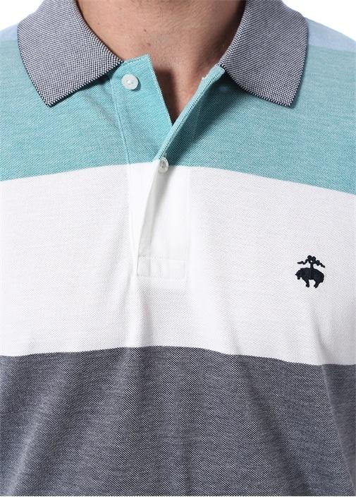Yeşil Beyaz Çizgili Polo Yaka T-shirt