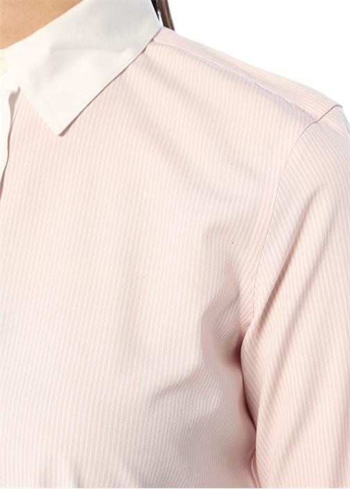 Tailored Fit Non Iron Stretch Pembe Çizgili Gömlek