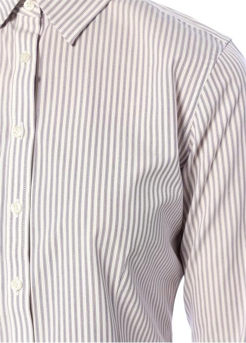 Slim Fit Non Iron Stretch Mor Çizgili Gömlek