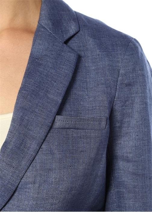 Mavi Kelebek Yaka Düğmeli Keten Ceket