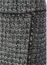 Mavi Püsküllü Şeritli Mini Tweed Kalem Etek