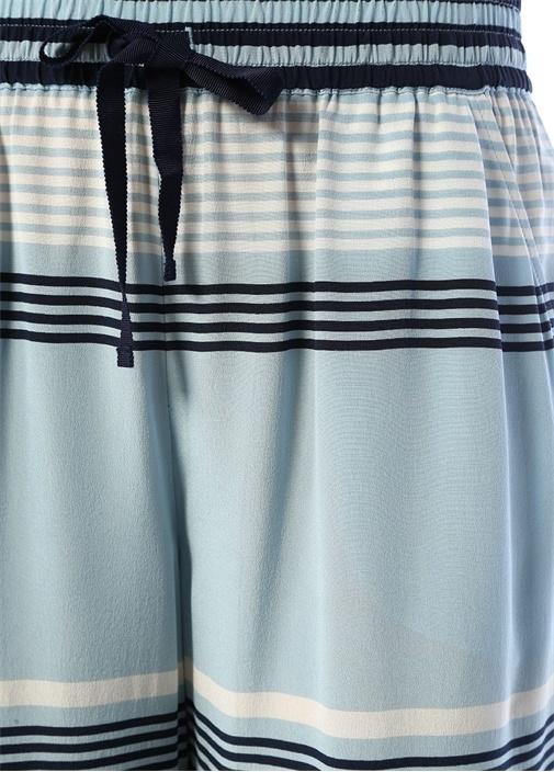 Mavi Beli Bağcıklı Çizgili İpek Pantolon