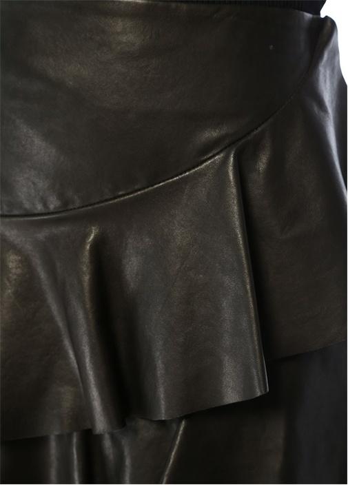 Siyah Asimetrik Volanlı Mini Deri Etek