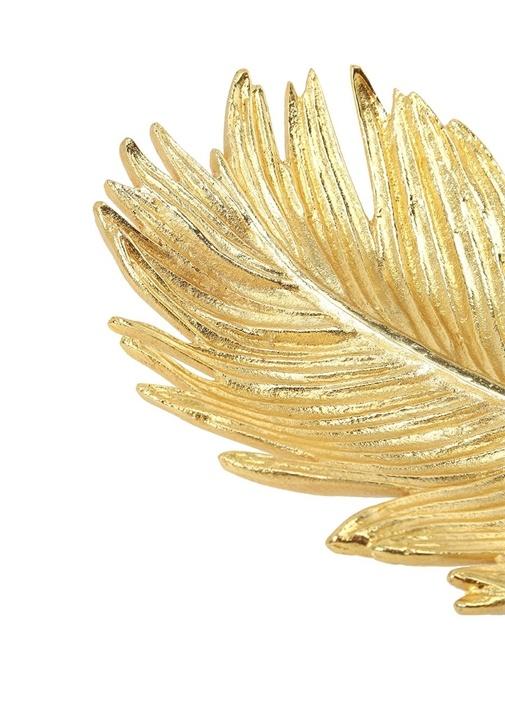 Gold Yaprak Formlu Dekoratif Tabak