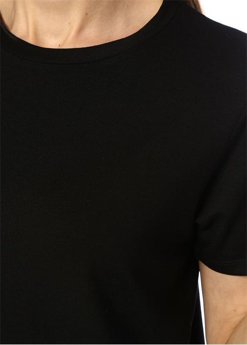 Siyah Bisiklet Yaka Basic Mini Elbise