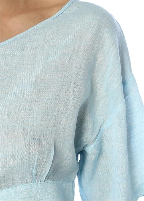Mavi Yanı Bağcıklı Tek Kol Crop Keten Bluz