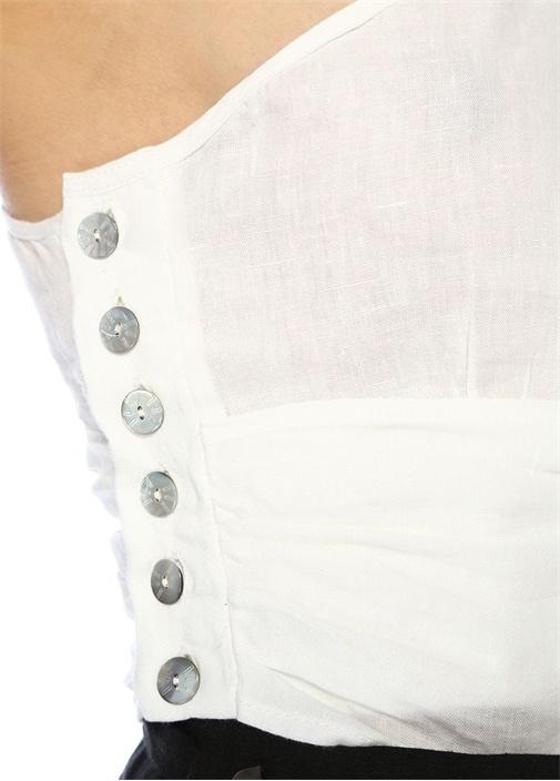 Beyaz Yanı Bağcıklı Tek Kol Crop Keten Bluz