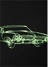 Siyah Neon Yeşil Araba Jakarlı Yün Kazak