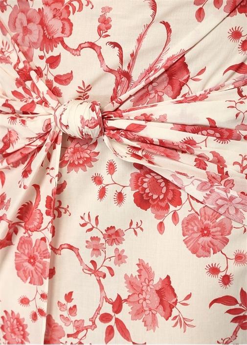 Hammam Pembe Beyaz Çiçekli Büzgülü MidiEtek