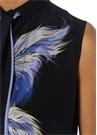 Mavi Siyah Fular Detaylı Kuş Baskılı İpek Bluz