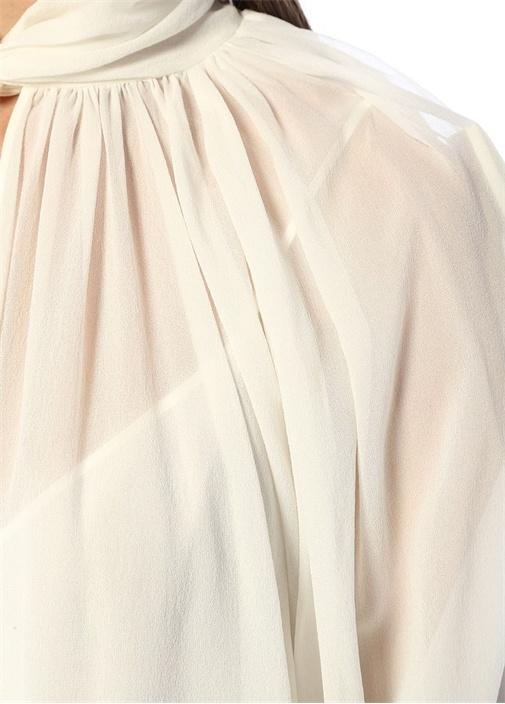 Beyaz Yakası Düğüm Detaylı Balon Kol İpek Bluz
