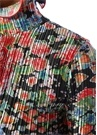 Dik Yaka Çiçekli Pilili Uzun Kol Mini Saten Elbise