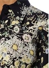 Oversize Lacivert Çiçekli Balon Kol İpek Gömlek