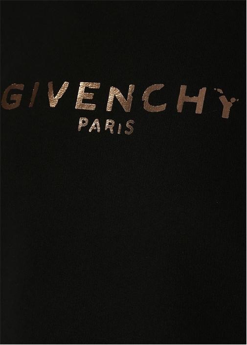 Siyah Logo Baskılı Crop Sweatshirt