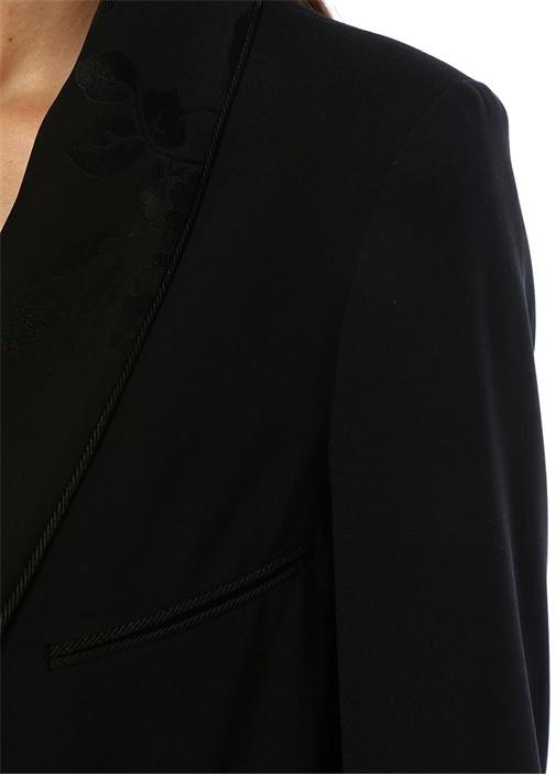 Siyah Şal Yaka Jakarlı Tek Düğmeli Ceket