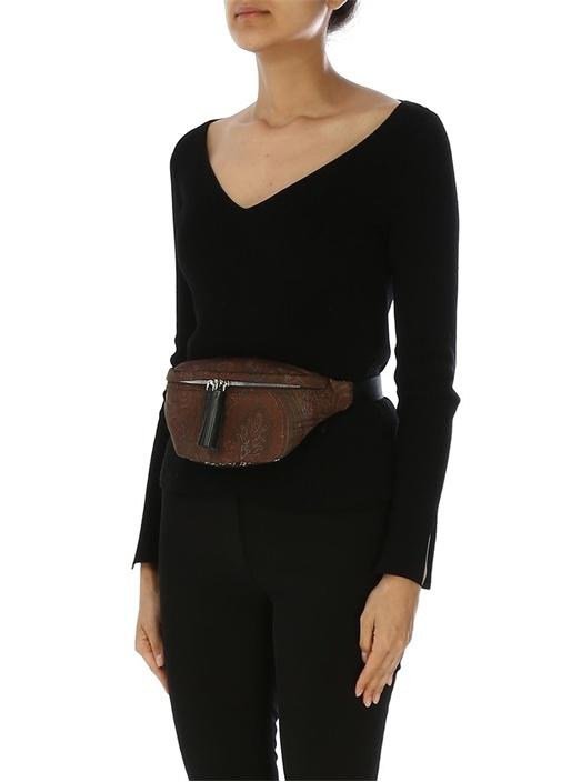 Kahverengi Şal Desenli Kadın Bel Çantası