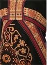 Siyah V Yaka Etnik Desenli Midi İpek Elbise