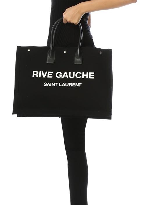 Rive Gauche Siyah Kanvas Alışveriş Çantası