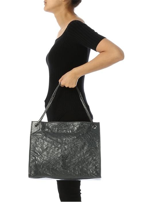 Niki Large Antrasit Kadın Deri Alışveriş Çantası