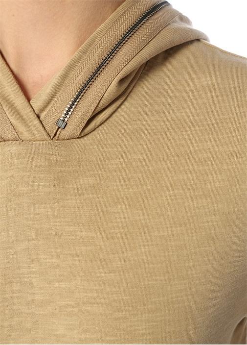 St Tropez Bej Kapüşonlu Crop Sweatshirt