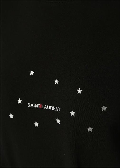 Siyah Silver Logo Baskılı Sweatshirt