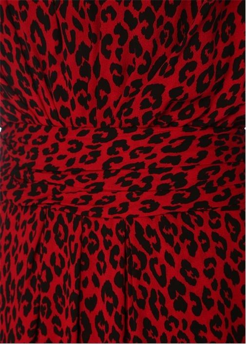 Kırmızı V Yaka Leopar Desenli Mini KrepElbise