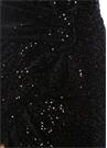 Siyah İşlemeli Fiyonk Detaylı Mini Kadife Etek