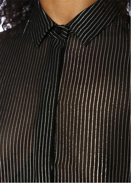 Siyah Silver Çizgili Transparan İpek Gömlek