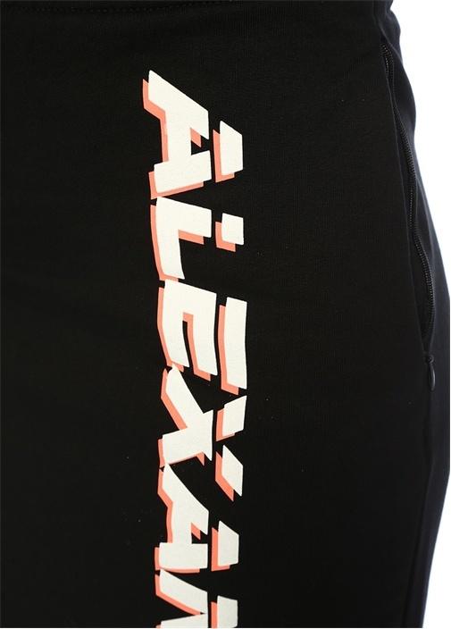 Siyah Logo Baskılı Yırtmaçlı Midi Etek