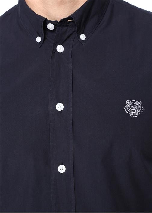 Casual Fit Lacivert Düğmeli Yaka İşlemeli Gömlek