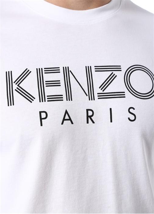 Beyaz Kontrast Logo Baskılı Basic T-shirt