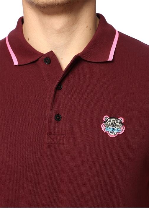 Bordo Polo Yaka Kaplan Patchli T-shirt