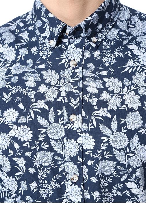 Slim Fit Düğmeli Yaka Çiçek Desenli Gömlek