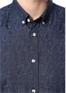 Slim Fit Düğmeli Yaka Etnik Desenli Gömlek