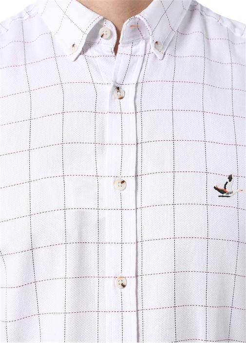 Comfort Fit Beyaz Düğmeli Yaka Ekoseli Gömlek