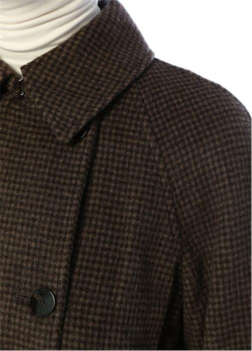 Haki Kazayağı Desenli Kuşaklı Kruvaze Yün Palto