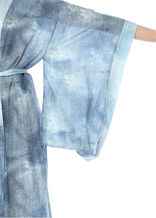 Yaz Blue Jean Kuşaklı Midi Kaftan
