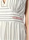Ran Beyaz V Yaka Çizgili Maksi Saten Elbise