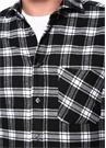 Siyah Beyaz Yarı İtalyan Yaka Ekoseli Gömlek