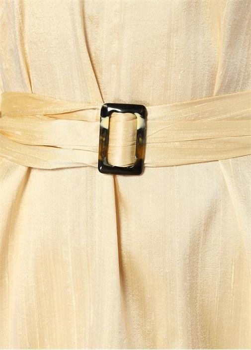 Nevada Sarı Kemerli Yarasa Kol Midi İpek Elbise