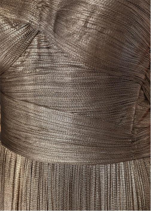 Anjoux Bronz Straplez Maksi İpek Abiye Elbise