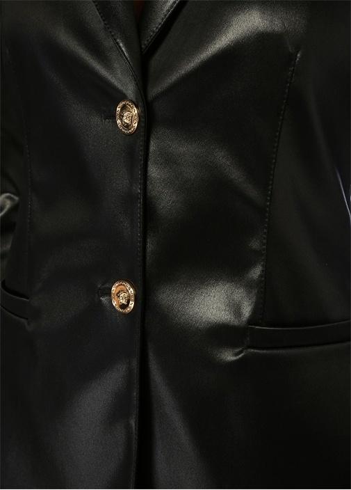 Siyah Kelebek Yaka Saten Blazer Ceket