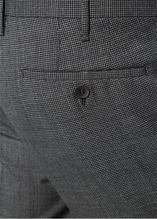 Gri Normal Bel Mikro Kazayağı Desenli Yün Pantolon