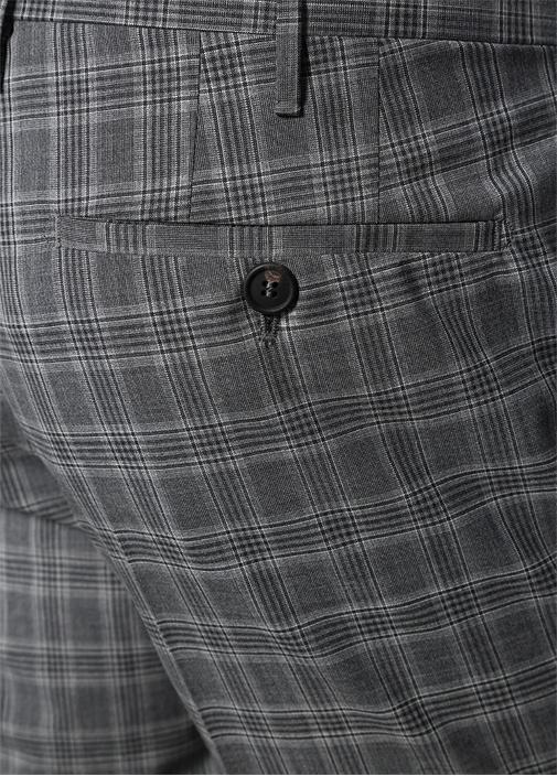 Gri Normal Bel Kareli Yün Pantolon