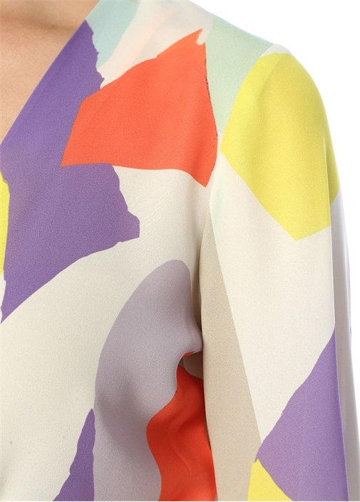 Haidiee Geometrik Desenli Önü Bağcıklı Crop Bluz
