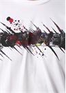 Beyaz Bisiklet Yaka Graffiti Baskılı Logolu Tshirt