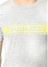 Gri Yıpratma Detaylı Logo Baskılı Basic T-shirt