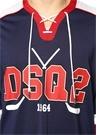 Lacivert Yakası Bağcıklı Şeritli Sweatshirt