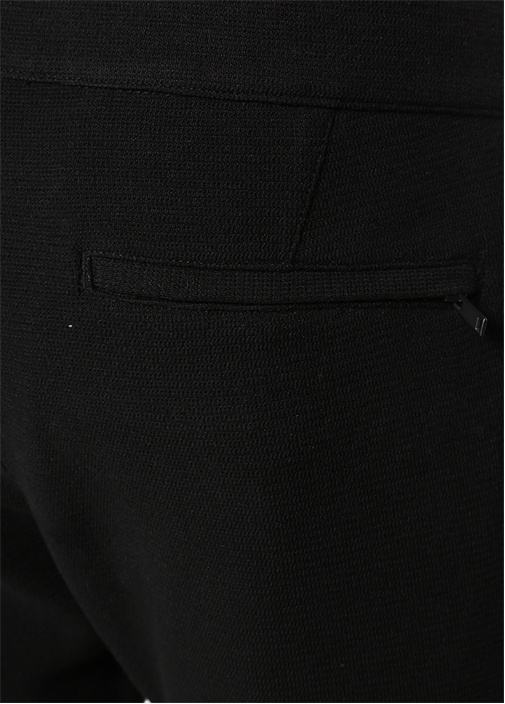 Siyah Beli Kordonlu Zikzak Dokulu Jogger Pantolon