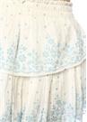Mavi Beyaz Çiçekli Fırfırlı Mini Etek